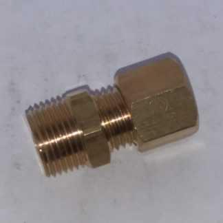 Messing knelkoppeling recht 8 mm x 3/8 buitendraad